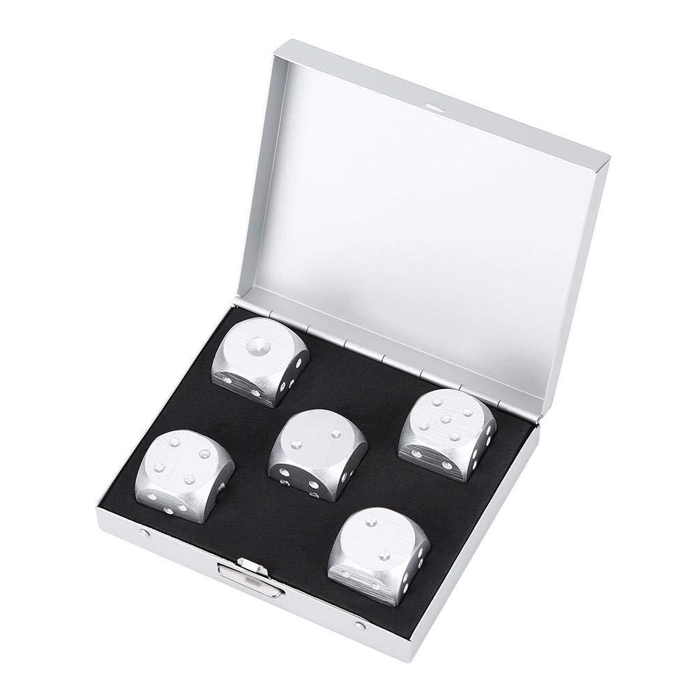 Aluminiumlegierung DND W/ürfel-Tischspiel Poker-Spiele W/ürfel mit Aufbewahrungsbox Farbe : Gold, Auflage : Square JADESHAY 6-seitiges W/ürfel-Set 5tlg