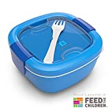 Bentgo Salad (Blue) BPA-Free Lunch Container with Large 54-oz Salad Bowl, 3-Compartment Bento-Style Tray for Salad Toppings and Snacks, 3-oz Sauce Container for Dressings, and Built-In Reusable Fork