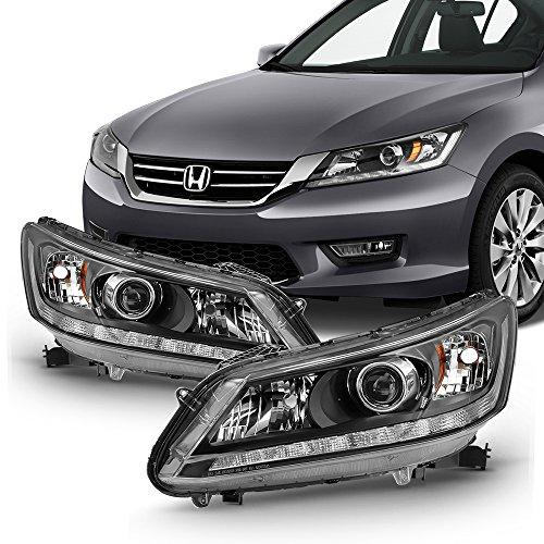 For 2013 2014 2015 Honda Accord Sedan Halogen Model Black LED Headlights Pair LH + RH Side ()