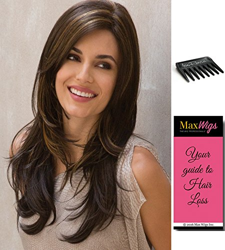 Angelica Partial Monofilament Color Marble Brown - Noriko Wigs Women's Long Straight Layered Synthetic Hand Tied Mono Part Built-In Volume Bundle with Wig Comb, MaxWigs Hairloss Booklet