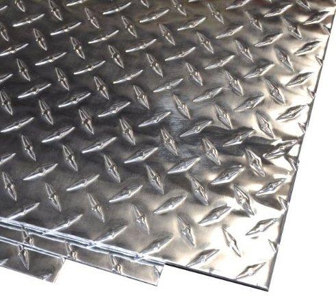 """1//8/"""" Aluminum Diamond Plate 30030 Mirror Finish 6/"""" x 12/"""""""
