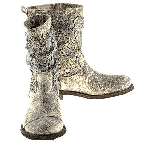 Felmini Chaussures Femme - Tomber en Amour Avec Gredo A947 - Bottes Cowboy & Biker - Cuir Véritable - Noir Noir KkbKknn