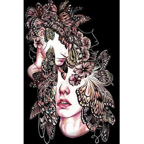 (YUMEART Full Drill Diamond Dotz 5D DIY Diamond Painting Butterfly Women Face 3D Embroidery Cross Stitch Mosaic Room Wall)