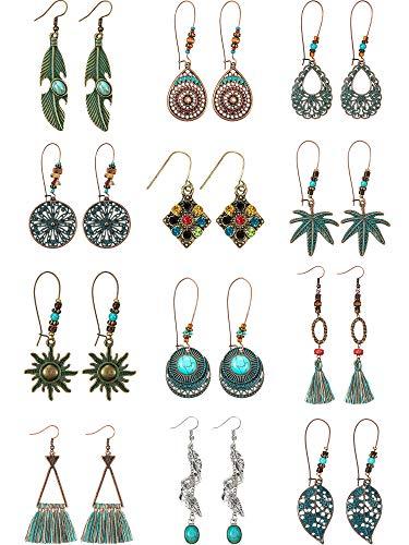 - 12 Pairs Vintage Boho Earrings Geometric Dangle Pendant Earrings Turquoise Earrings for Women Girls Supplies (Style C)