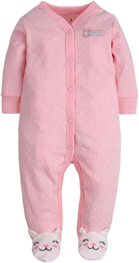 CARETOO Baby Sleepwear Boys Girls Cotton Rompers Sleepwear Cartoon Jumpsuits with 0-12 Months