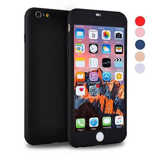 iPhone 6s Case, VANSIN 360 Full Body Cover Ultra Thin Protective Hard Slim Case Coated Non Slip Matte Surface with Screen Protector for Apple iPhone 6 and iPhone 6s (4.7'') - Black