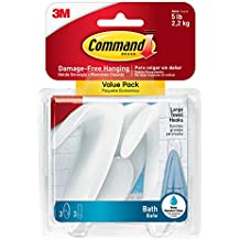 Command 745654016266 Towel Value Pack, Clear Frosted, 3-Hooks, 3-Large Water-Resistant Strip (BATH17-3ES), White