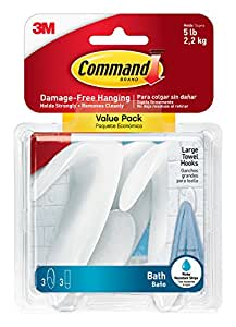 Command Towel Hook Value Pack, Large, Clear Frosted, 3-Hooks, 3-Large Water-Resistant Strip  (BATH17-3ES)