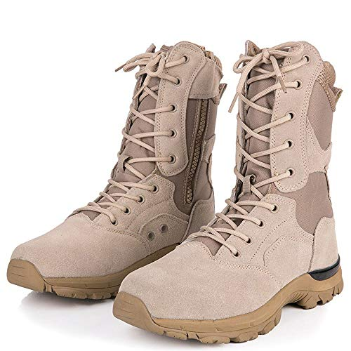 YYIN Men's Outdoor Combat Boots Ultra Light Hiking Shoes High Help Desert Boots Anti-Slip Work Hiking Boot (Color : Sand, Size : 44)