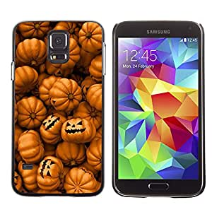 PC/Aluminum Funda Carcasa protectora para Samsung Galaxy S5 SM-G900 Orange Pumpkin Evil Holiday / JUSTGO PHONE PROTECTOR
