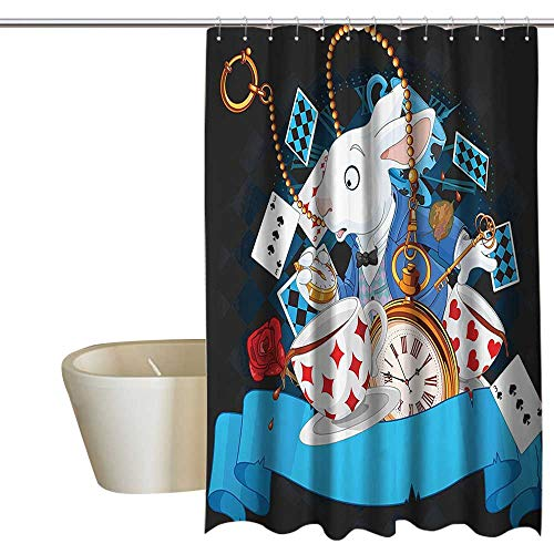 Alice in Wonderland Decorations Home Decor Shower Curtain Rabbit Amazing with Motion Cups Hearts Rose Flower Character Alice Cartoon boy Shower Curtain W72 x L84 Multi - Rose Cup Prairie