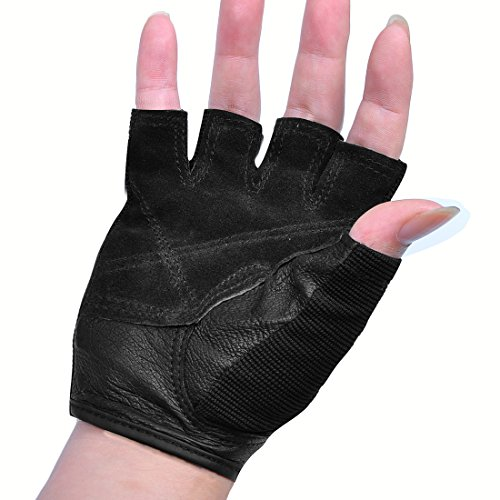 Small Gym Bodybuilding Black Leather Fitness Lifting: IiSPORT Mens Weight Lifting Gloves Leather Grip Gym
