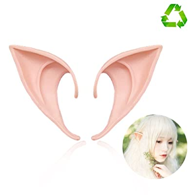 HUHUBA Elf Ear Costume Halloween Party Props, Soft Pointed Ears of Fairy Pixie for Anime Cosplay,(orange,size?M/L): Office Products