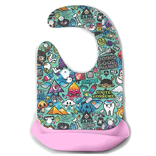 ro Robot Trippy Art Baby Mouth Towel Waterproof Drooling & Teething Bib Baby Feeding Accessorry Baby Bibs for Boys Girls, Adjustable Snaps Baby Bibs ()