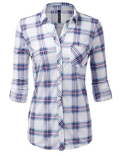 JJ Perfection Womens Long Sleeve Collared Button Down Plaid Flannel Blouse Shirt WHITETEAL L (Woven Sleeve Shirt)