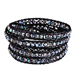 New! Genuine Leather Bracelet Multi Colors Beads Wrap Bracelet Nice Gift! (5 Wraps, facet AB rhinestone)
