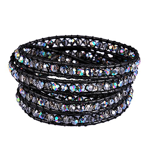 New! Genuine Leather Bracelet Multi Colors Beads Wrap Bracelet Nice Gift! (5 Wraps, facet AB rhinestone) (Mens Strand Bracelet)