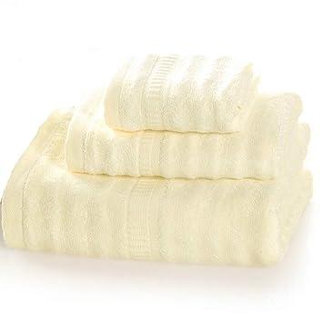SYXLTSH Pulpa de bambú Fibra Engrosamiento Toalla de baño Toalla niño Suave Adulto Tres Piezas Beige