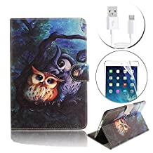 Galaxy Tab S2 Tablet Case, Bonice Premium Pattern Leather Stand Folio Wallet Case Magnetic Snap Shockproof Protective Cover for Samsung Galaxy Tab S2 (9.7 inch SM-T810 T815 T813) - Mother and Son Owl