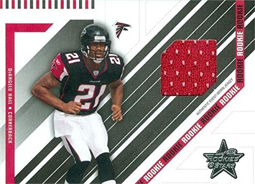 - Deangelo Hall player worn jersey patch football card (Atlanta Falcons) 2004 Leaf Rookies & Stars #252 Rookie
