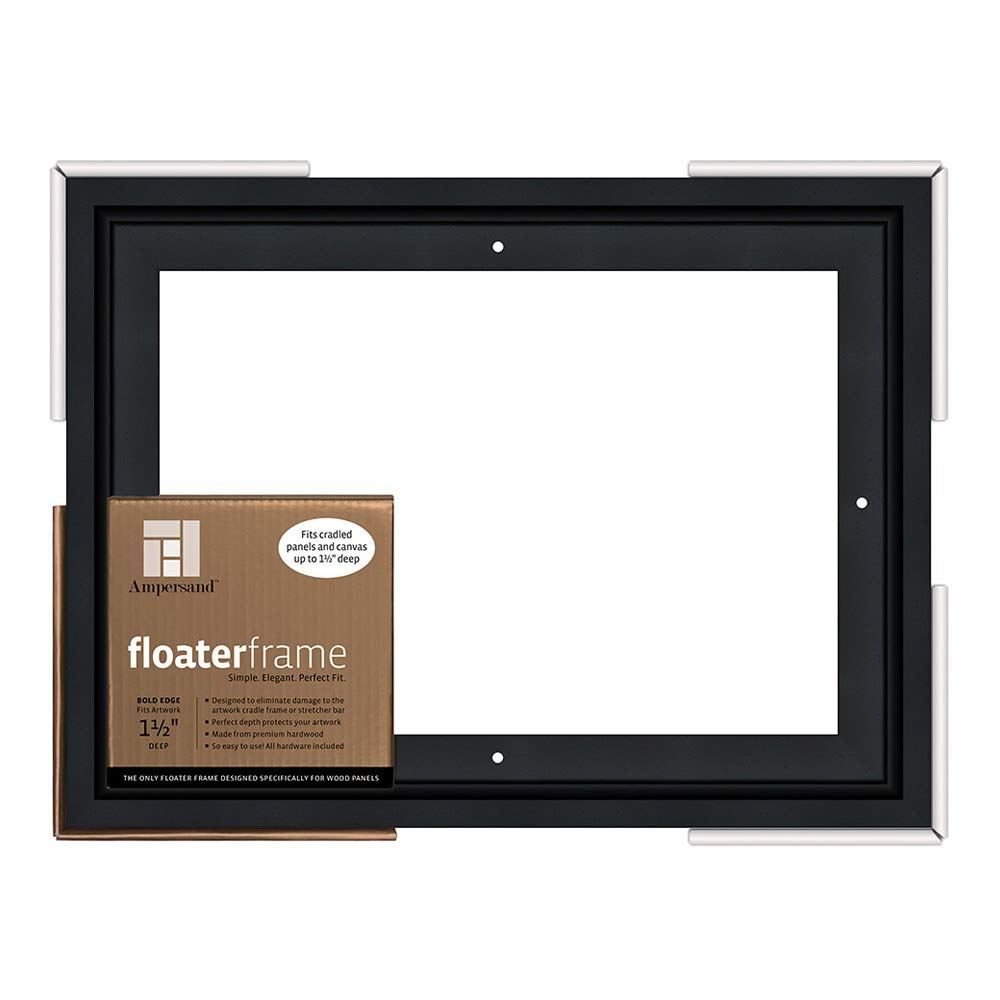 Ampersand Floaterframe for Wood Panels, 1.5 Inch Depth, Bold, 9x12 Inch, Black (FBOLD150912B)