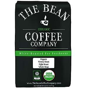 The Bean Coffee Company Organic Vienna Roast, Light Roast, Whole Bean, 5-Pound Bag