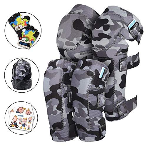 (Innovative Soft Kids Knee and Elbow Pads with Bike Gloves | Toddler Protective Gear Set w/Mesh Bag | Comfortable | Skateboard for Children Boys Girls ((2nd Gen) Snow Land Camo, Small (2-4 Years)))