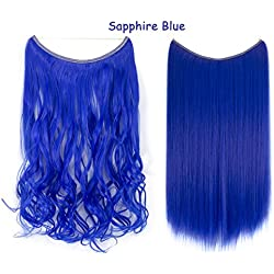 """20""""/22"""" Invisible Wire Hair Extensions Curly Wave No Clips in Full Head Hair Extension Secret Fish Line Hairpieces Silky Real Natural Synthetic Hair 100g (Sapphire Blue)"""