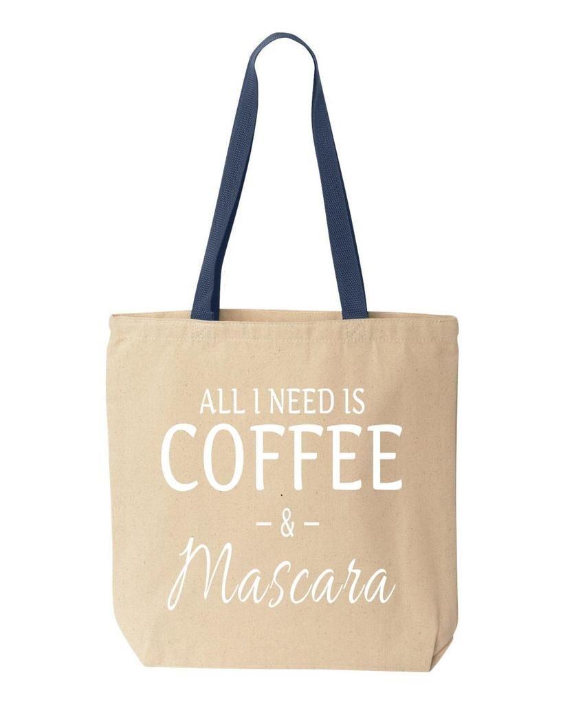 shop4ever All I Need Is Coffee &マスカラコットンキャンバストートバッグSayings再利用可能なショッピングバッグ10 oz色付きハンドル 10 oz ブルー S4E_1215_CoffeeMasc_TB_8868_Navy_3 B06Y2KDKBK  ナチュラル-ネイビー