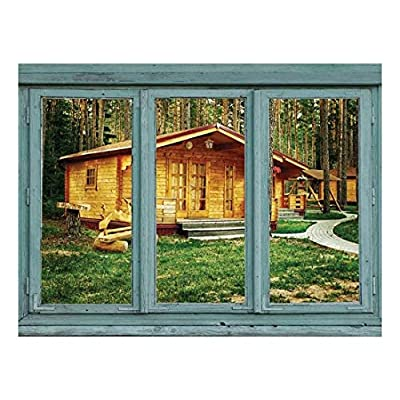 Cabins in a Rustic Campground Forest Getaway Wall Mural, Quality Creation, Majestic Print
