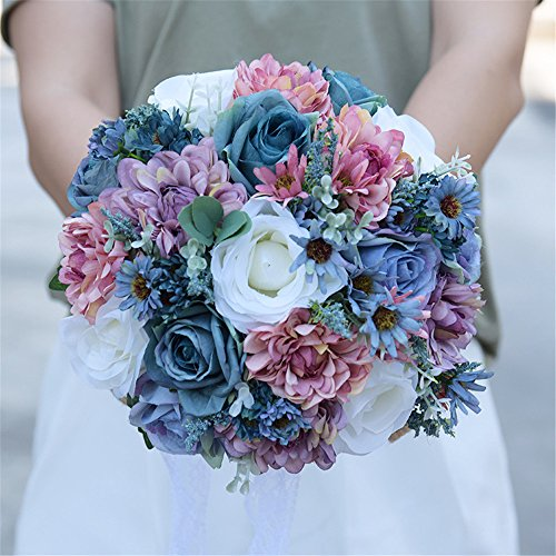 KUPARK Handmade Romantic Rose Hydrangea Gerbera Artificial Flowers Blossom Bridal Bridesmaid Bouquet Home Wedding Decoration Gift for Birthday Valentine's -