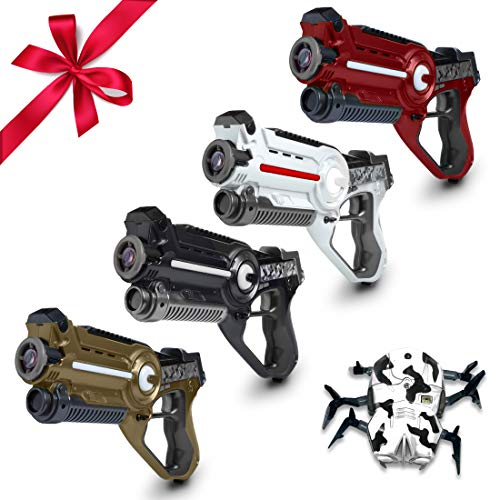 USA Toyz Laser Tag Gun Set - 4pk Battle Box Laser Tag Guns with Laser Tag Spider Target Multiplayer Lazer Tag w/ Laser Guns for Kids and Adults