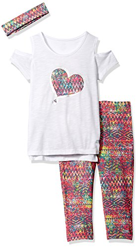 Marika Big Girls' Capri Sets With Headband,White,S(7/8)