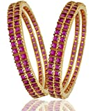 M Creation Gold Ruby Coloured Stone Gold-Plated Bangle Set For Women B114(PACK OF 4)