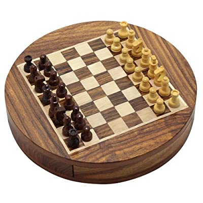 Christmas Gifts Wooden Magnetic Round Chess Board and Pieces Set with Storage Diameter 6 Inches - Gifts for Kids & Adults