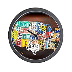 CafePress-United States License Plate Map-Wall Clock
