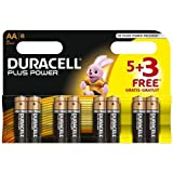 4 X Duracell MN1500 Plus Power Alkaline Battery AA Size 5 + 3 Free (8 Pack)