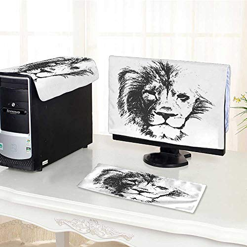 Computer Monitor Dust Cover 3 Pieces The King of The Jungle Pencil Drawing Handmade Majestic Lion Head Image Grey Antistatic, Water Resistant /30