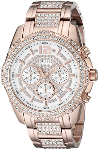 GUESS Men's U0291G2 Sporty Rose Gold-Tone Stainless Steel Watch with Chronograph Dial and Deployment Buckle
