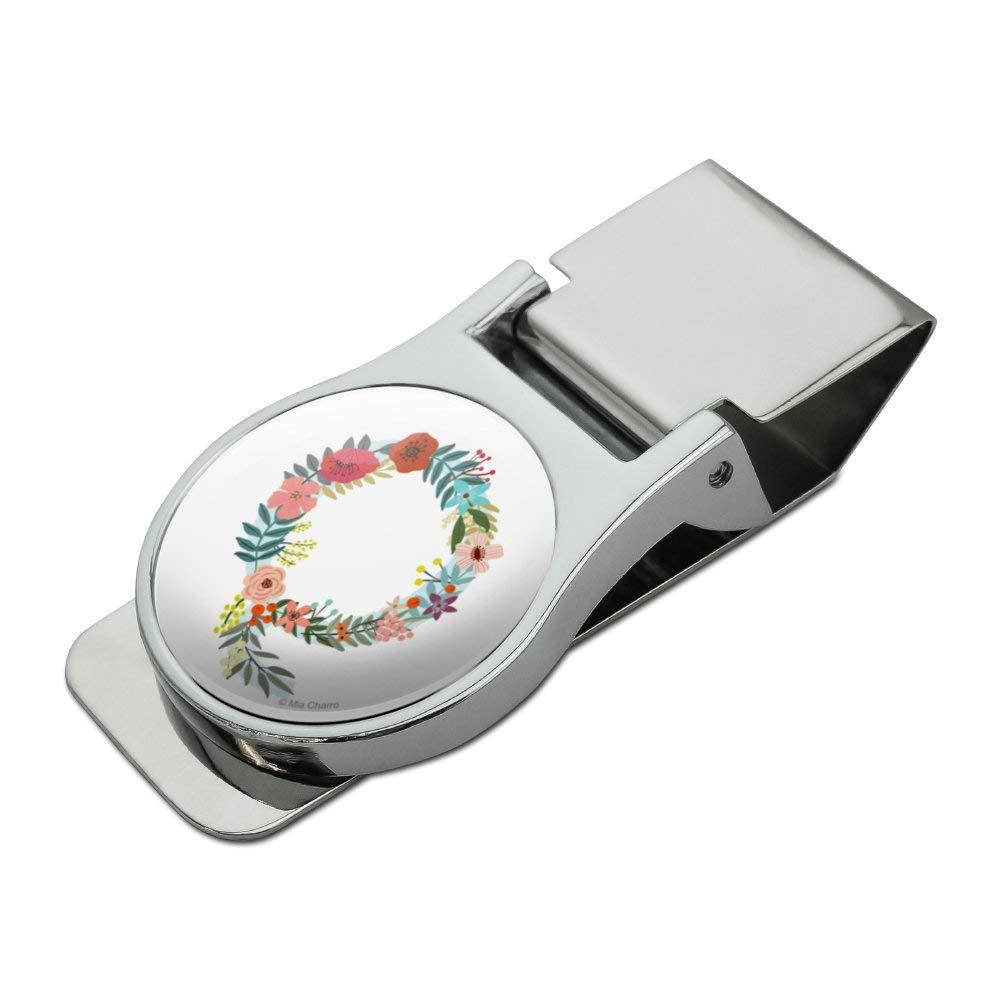Letter Q Floral Monogram Initial Satin Chrome Plated Metal Money Clip