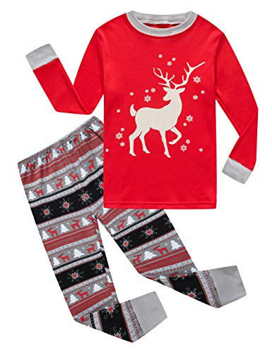 Family Feeling Little Girls Boys Long Sleeve Christmas Pajamas Sets 100% Cotton Pyjamas Kids Pjs Size 7 Reindeer