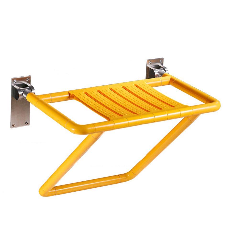 シャワーチェアバスルーム折りたたみスツール壁シャワー座席バスルーム高齢者シャワーウォールチェアシャワースツール (色 : イエロー いえろ゜, 版 ばん : Basic Edition) B07DFDCN4H Basic Edition|イエロー いえろ゜ イエロー いえろ゜ Basic Edition