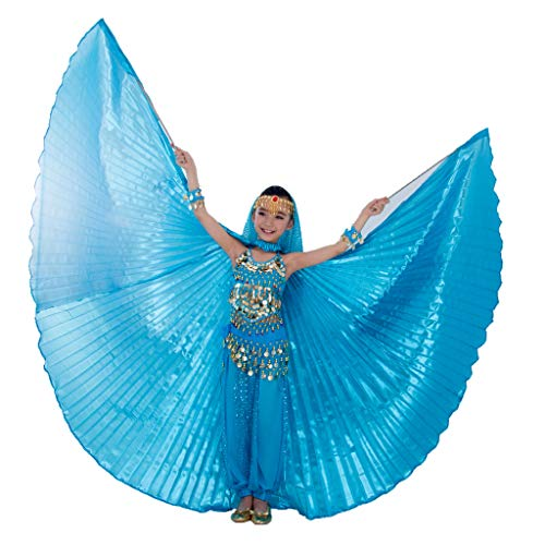 MUNAFIE Halloween Costumes Belly Dance Isis Wings for Children Kids (Wings with Sitck and Bag, Sky Blue)]()