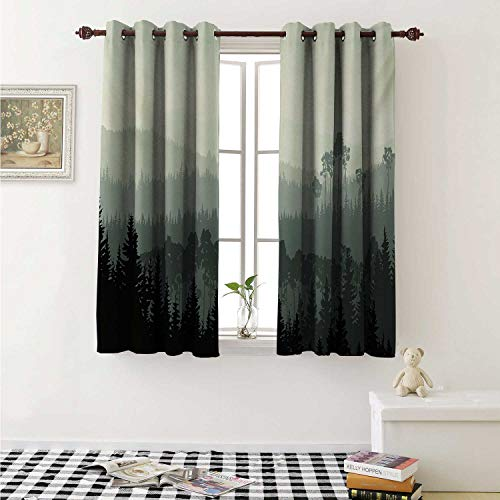 shenglv Forest Customized Curtains The Panorama of a Valley and Mystic Forest of Pine Trees Nature Theme Curtains for Kitchen Windows W63 x L45 Inch Egg Shell and Sage Green