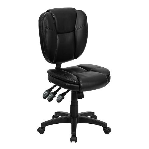 Flash Furniture Mid-Back Black Leather Multifunction Ergonomic Swivel Task Chair