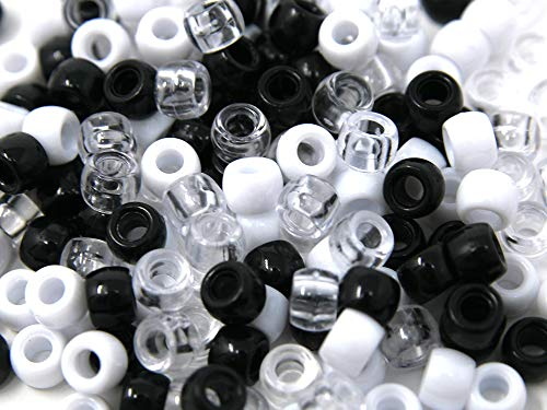Assorted Color Design 180 Pieces Plastic Beads 6 x 7 mm For Braid Hair For Girls (WHITE CLEAR -