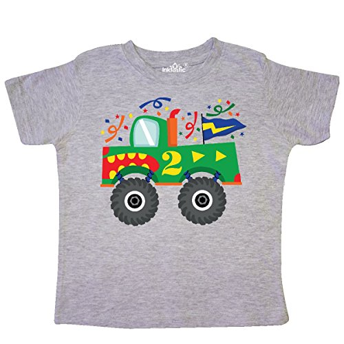 inktastic 2nd Birthday Monster Truck Toddler T-Shirt 2T Heather Grey