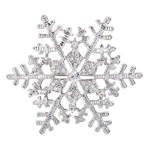 EleQueen Women's Clear Austrian Crystal Winter Snowflake Brooch Pin Silver-Tone