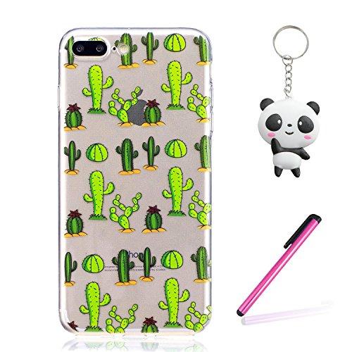 iPhone 7 Plus Coque Cactus vert Premium Gel TPU Souple Silicone Transparent Clair Bumper Protection Housse Arrière Étui Pour Apple iPhone 7 Plus + Deux cadeau