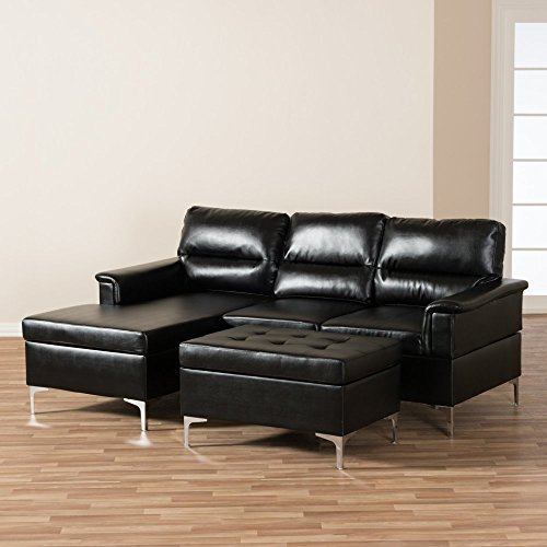 Baxton Studio Kinsley Small 2 Piece Sectional in Black